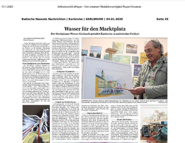 Artikel Badische Neueste Nachrichten über Werner Gerhardt Jan. 2020