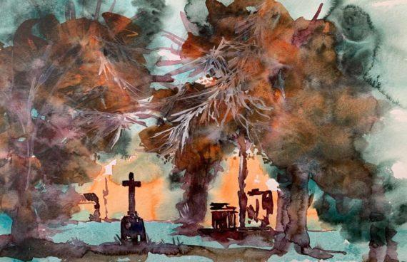 Alter Friedhof Friedrichstal _ Aquarell 0.60 x 0.40