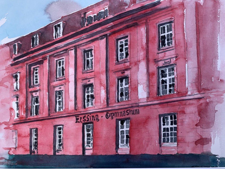 Das rosa Lessing-Gymnasium am Gutenbergplatz 0.40 x 0.30