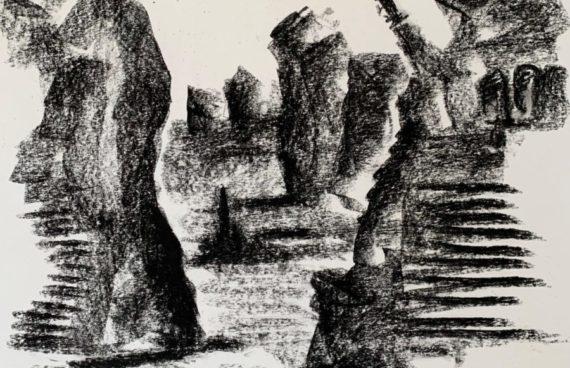 IN ARBEIT: Megalithe 03 _ Kohle _ 0.60 x 0.40