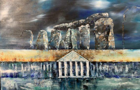 Schloss und Megalithe _ Ölfarben 1.00 x 0.80