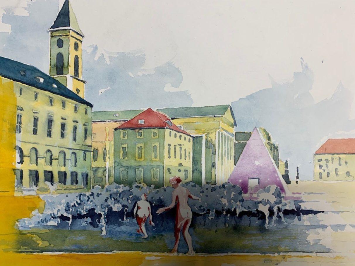 Baden am Karlsruher Marktplatz  _ Aquarell 0.60 x 0.40