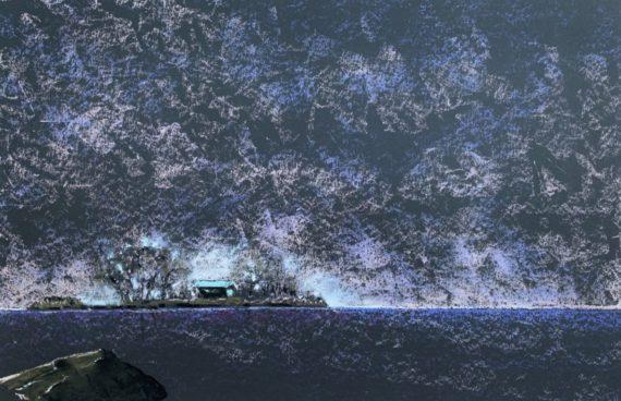 Die Insel _ Ölpastell 0.70 x 0.50