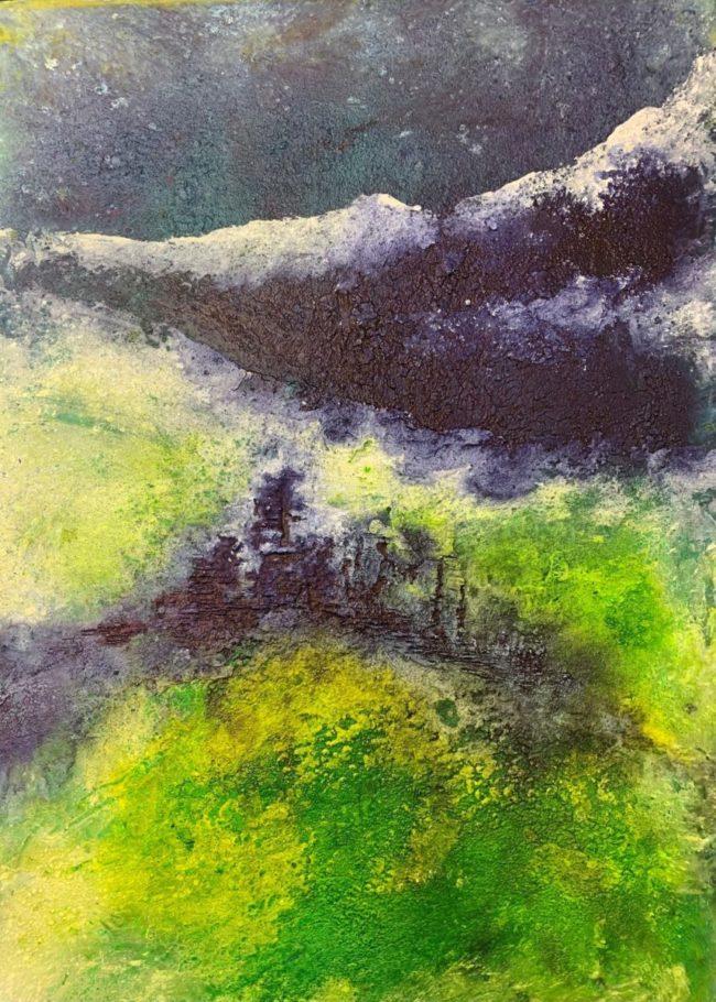 Burg im Berg _ Ink auf Marmormehl 0.30 x 0.50