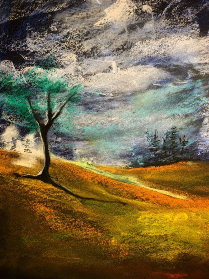 Surreale Landschaft _ Ölpastell 0.30 x 0.40