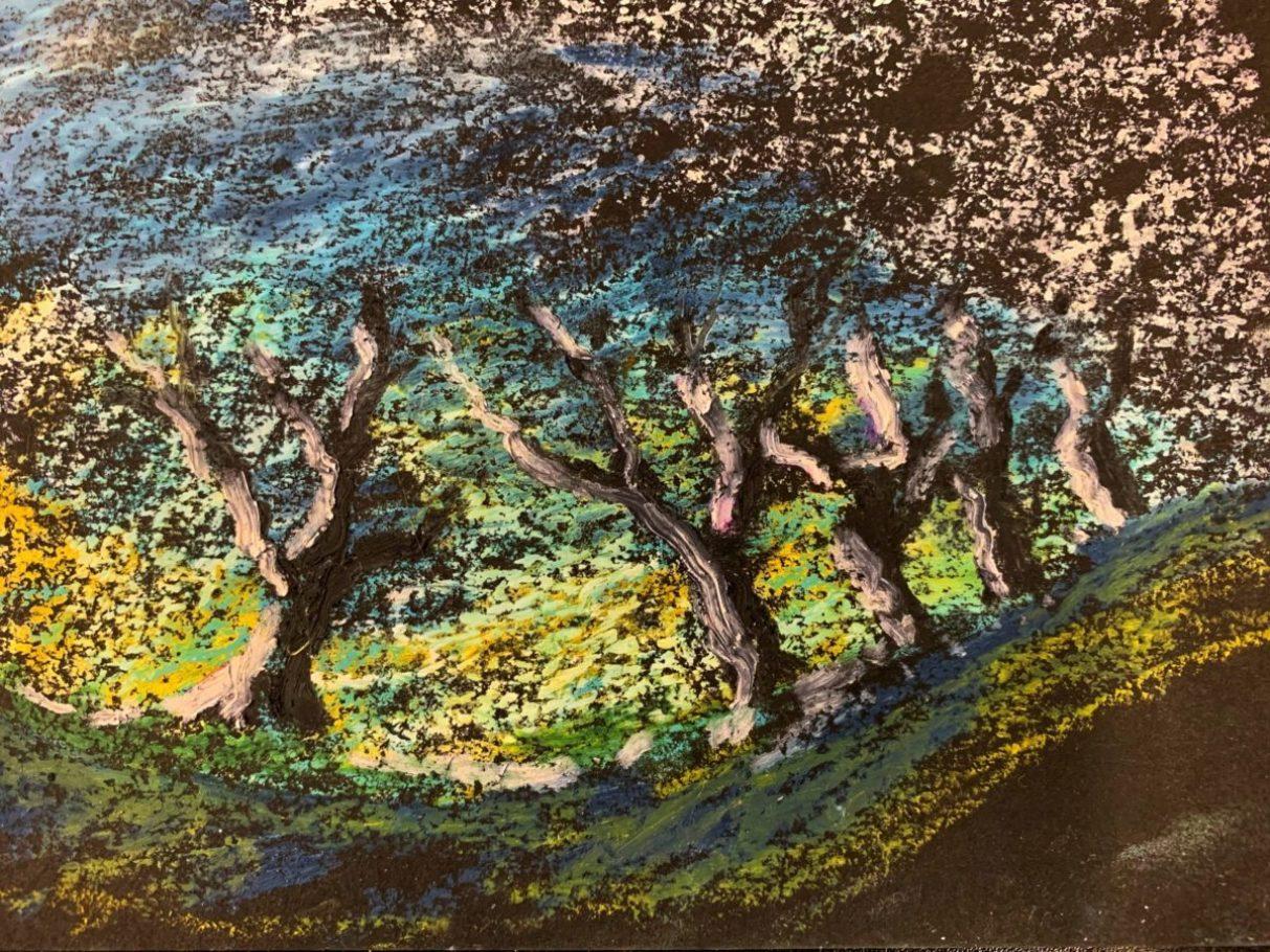 Winterbäume 05 _ Ölpastell 0.20 x 0.30