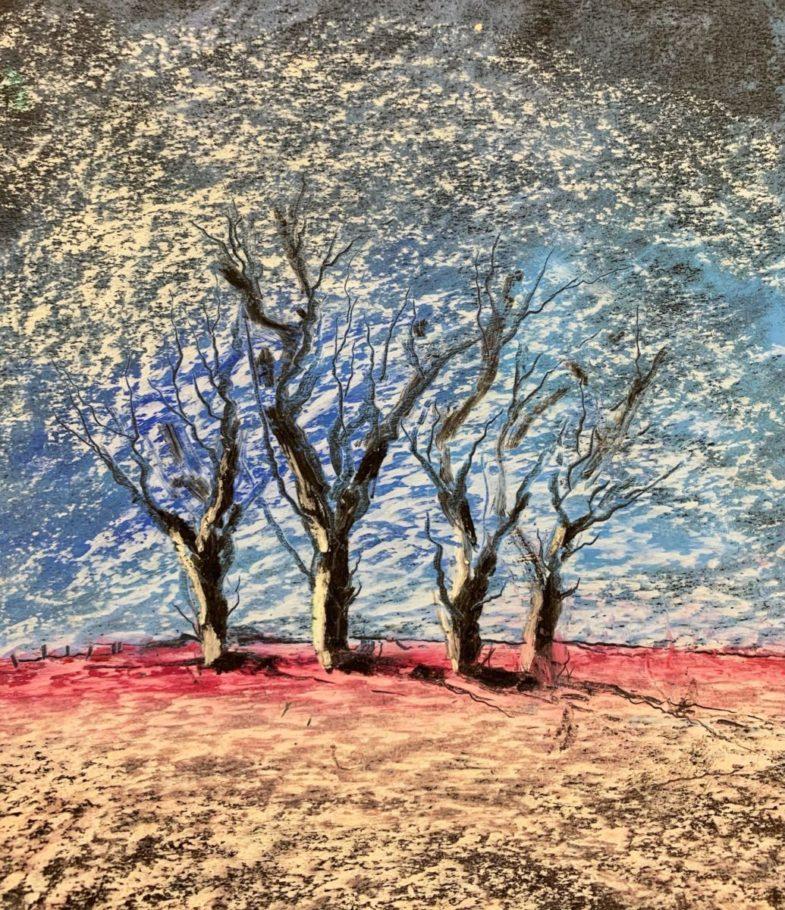Winterbäume 02 _ Ölpastell 0.20 x 0.30