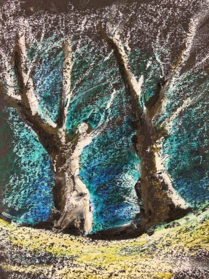 Winterbäume 01 _ Ölpastell 0.20 x 0.30